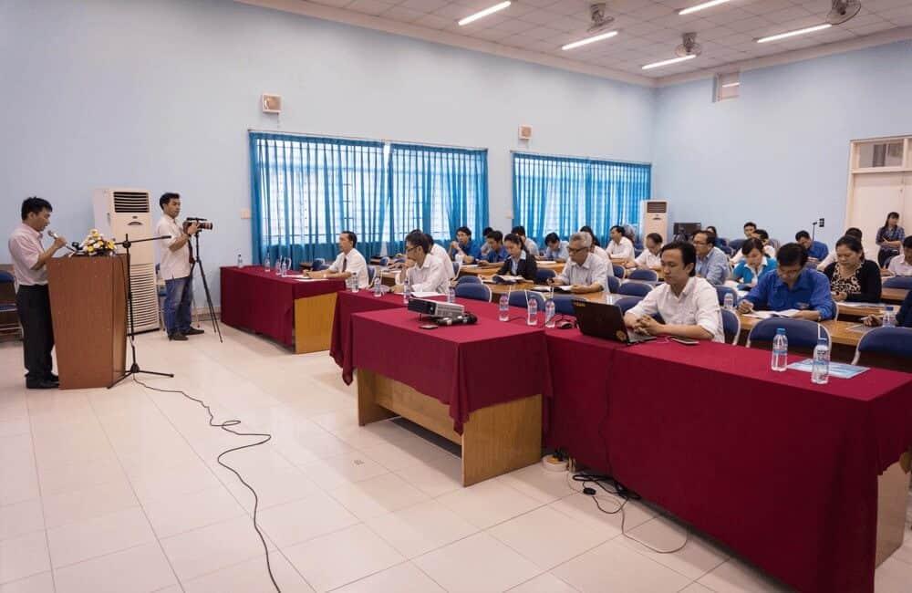 Ông Trần Trọng Tuyên - giám đốc trung tâm Thông tin và Thống kê Khoa học và công nghệ phát biểu khai mạc hội thảo